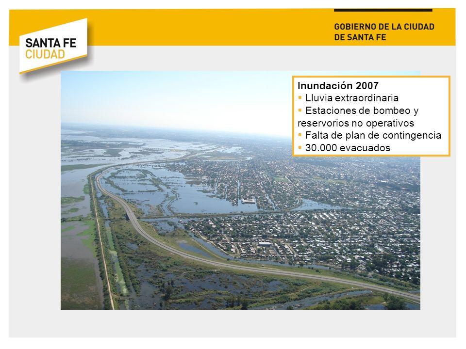 Inundación 2007 Lluvia extraordinaria. Estaciones de bombeo y reservorios no operativos. Falta de plan de contingencia.