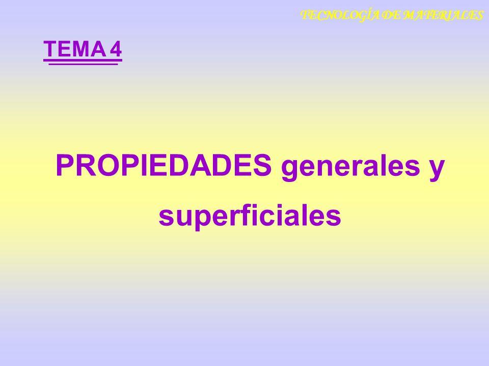 TECNOLOGÍA DE MATERIALES PROPIEDADES generales y superficiales