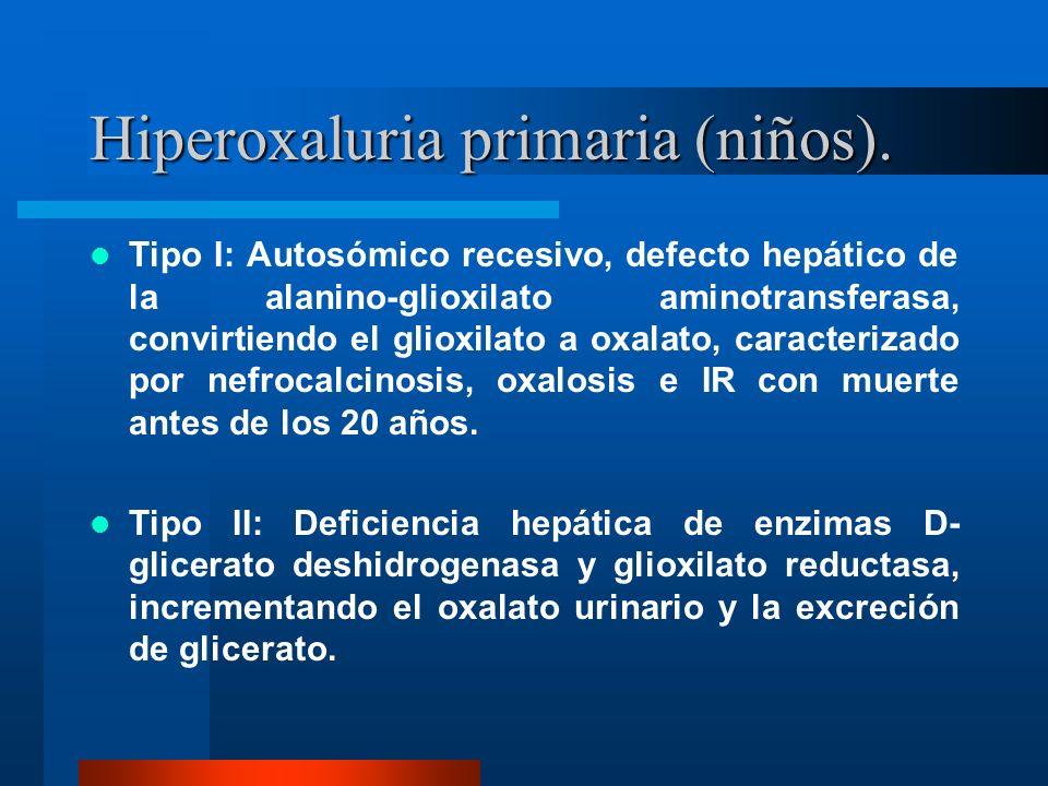 Hiperoxaluria primaria (niños).