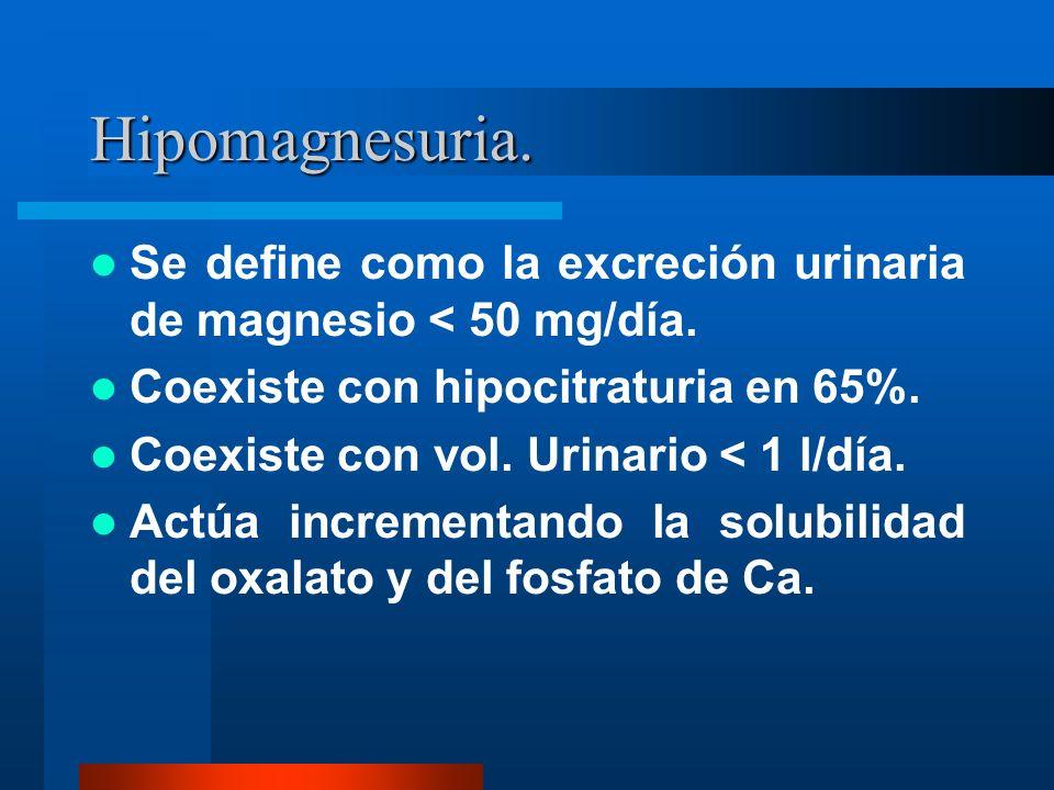 Hipomagnesuria. Se define como la excreción urinaria de magnesio < 50 mg/día. Coexiste con hipocitraturia en 65%.