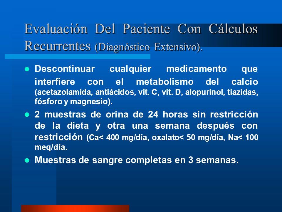 Evaluación Del Paciente Con Cálculos Recurrentes (Diagnóstico Extensivo).