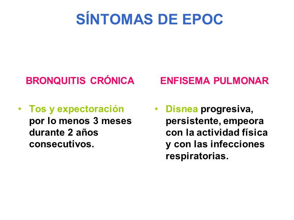 SÍNTOMAS DE EPOC BRONQUITIS CRÓNICA