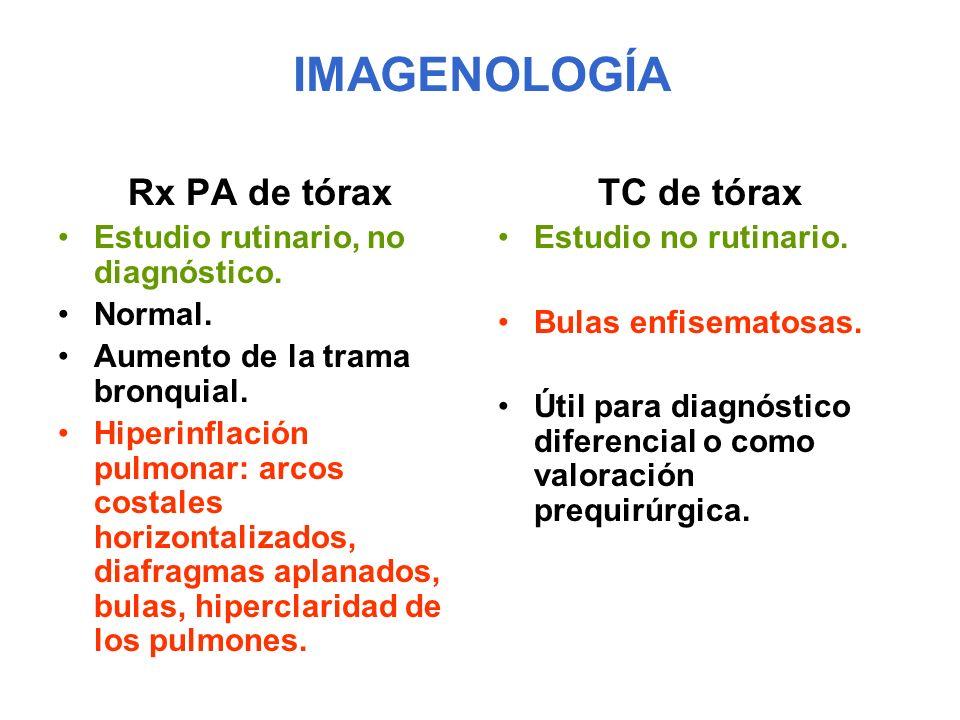 IMAGENOLOGÍA Rx PA de tórax TC de tórax