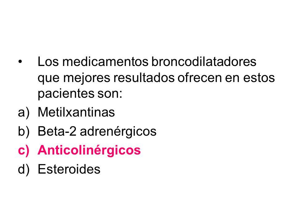 Los medicamentos broncodilatadores que mejores resultados ofrecen en estos pacientes son: