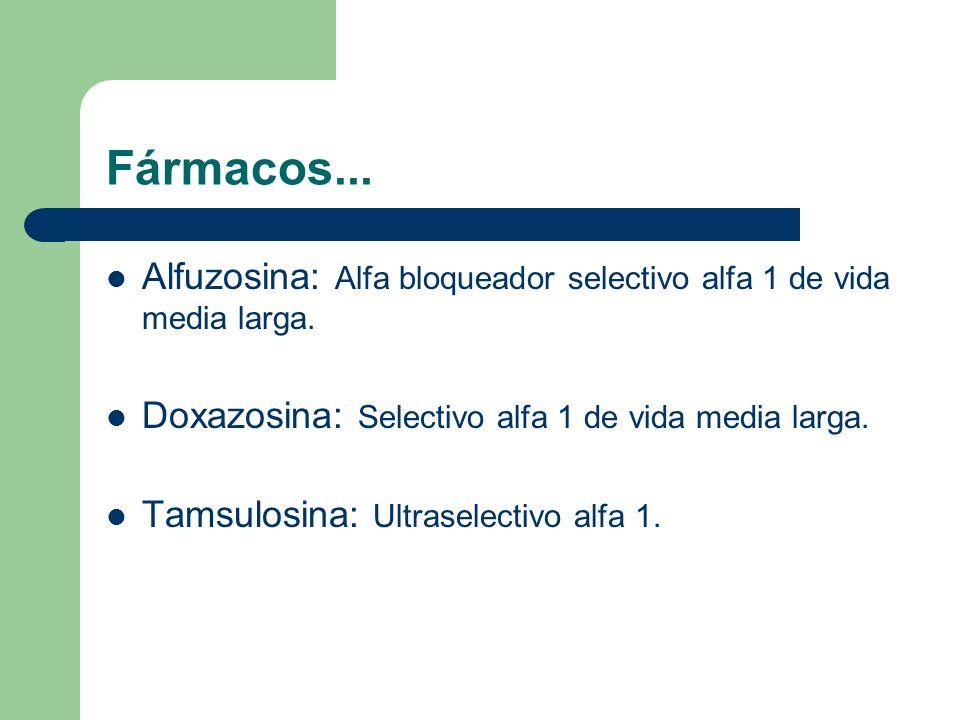 Fármacos... Alfuzosina: Alfa bloqueador selectivo alfa 1 de vida media larga. Doxazosina: Selectivo alfa 1 de vida media larga.