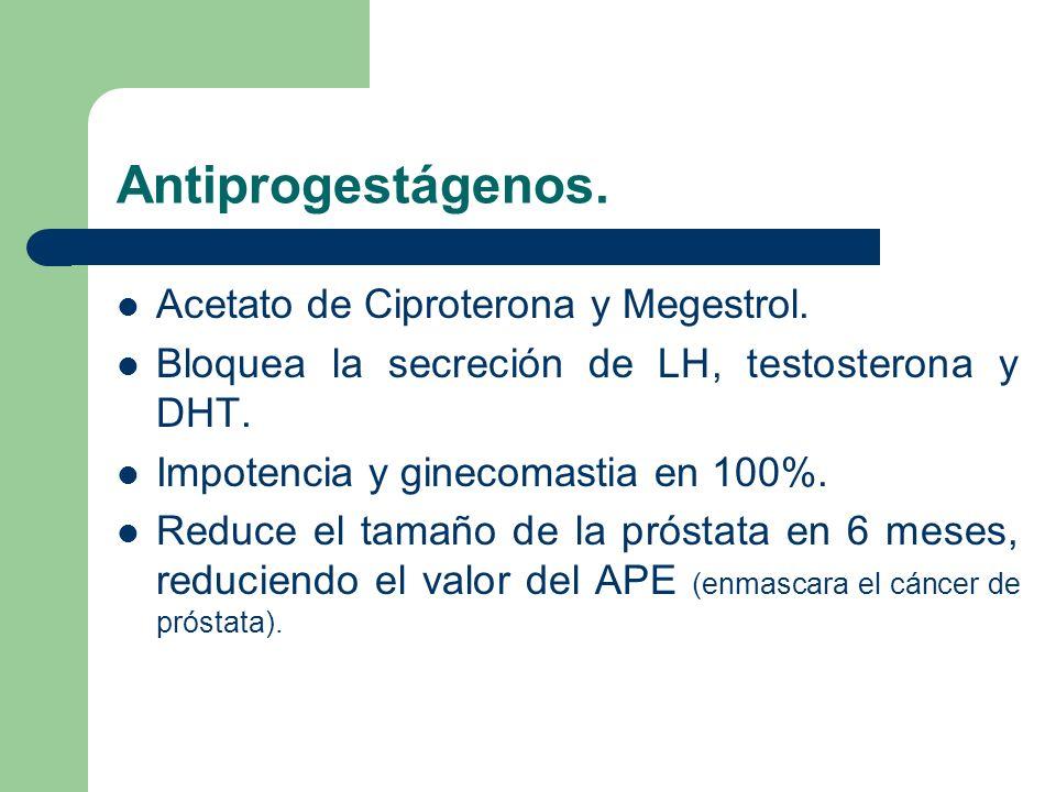Antiprogestágenos. Acetato de Ciproterona y Megestrol.