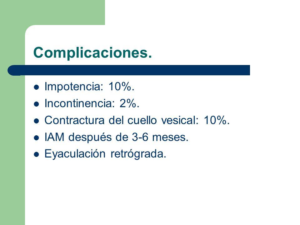 Complicaciones. Impotencia: 10%. Incontinencia: 2%.