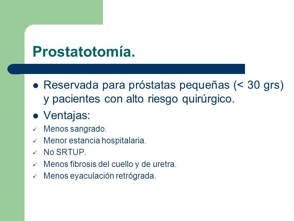 Prostatotomía. Reservada para próstatas pequeñas (< 30 grs) y pacientes con alto riesgo quirúrgico.