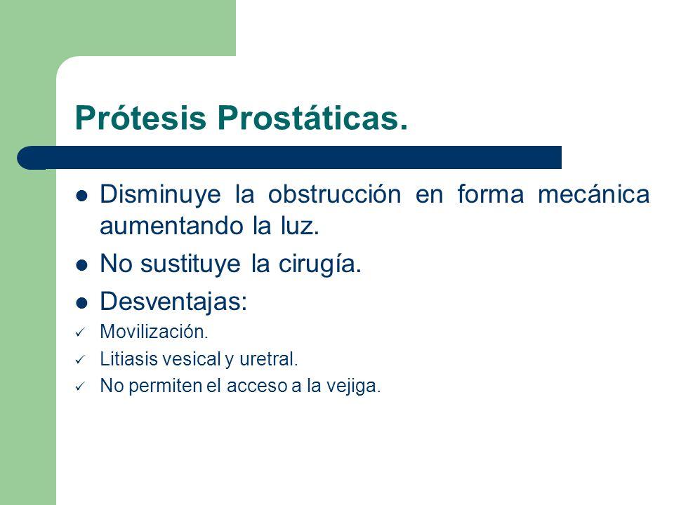 Prótesis Prostáticas. Disminuye la obstrucción en forma mecánica aumentando la luz. No sustituye la cirugía.