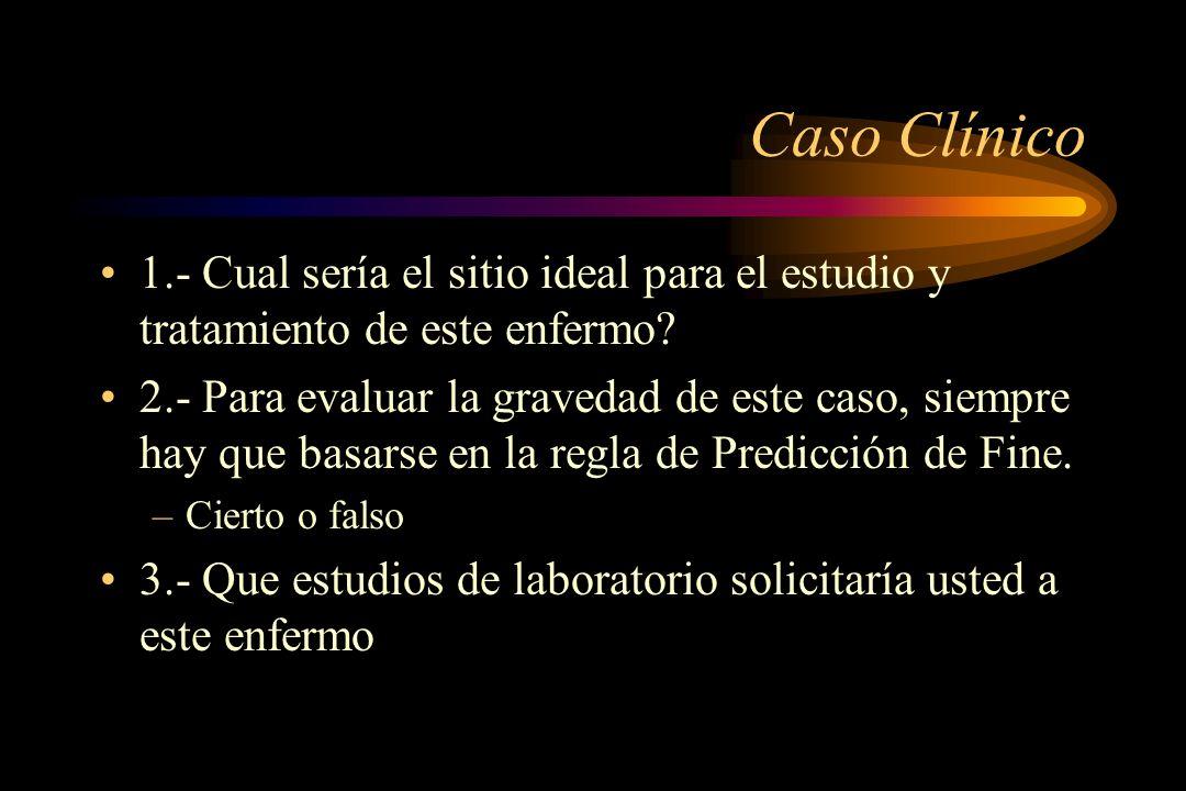 Caso Clínico 1.- Cual sería el sitio ideal para el estudio y tratamiento de este enfermo