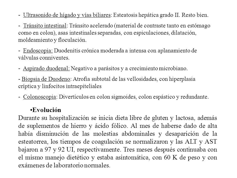 - Ultrasonido de hígado y vías biliares: Esteatosis hepática grado II