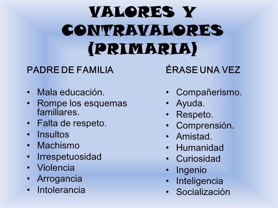 VALORES Y CONTRAVALORES (PRIMARIA)