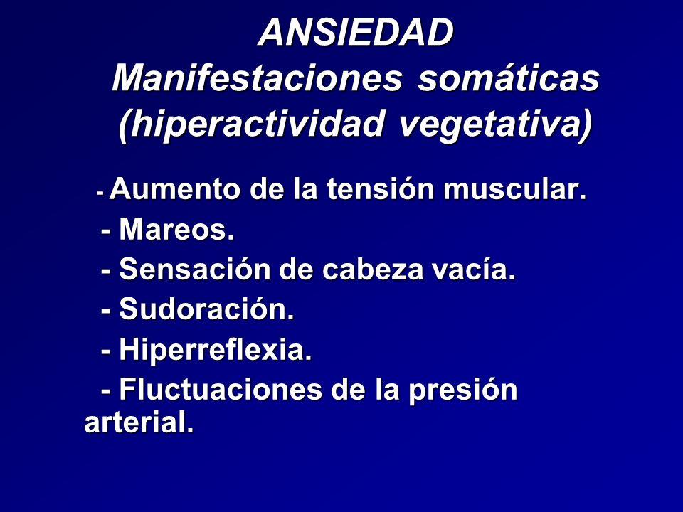 ANSIEDAD Manifestaciones somáticas (hiperactividad vegetativa)