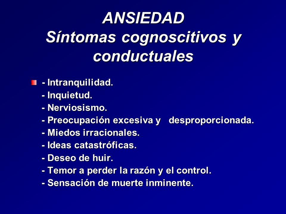 ANSIEDAD Síntomas cognoscitivos y conductuales