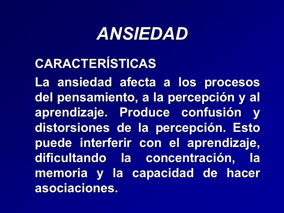 ANSIEDAD CARACTERÍSTICAS