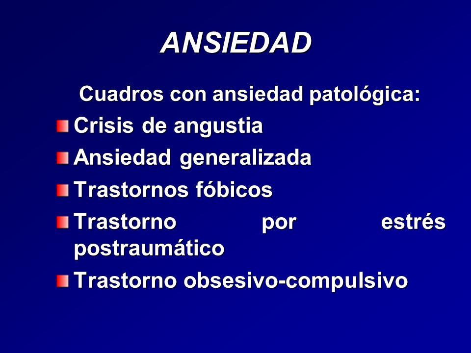 ANSIEDAD Crisis de angustia Ansiedad generalizada Trastornos fóbicos