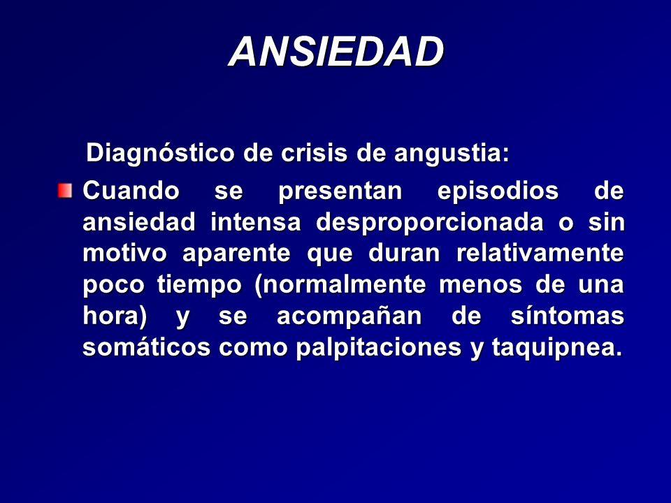 ANSIEDAD Diagnóstico de crisis de angustia: