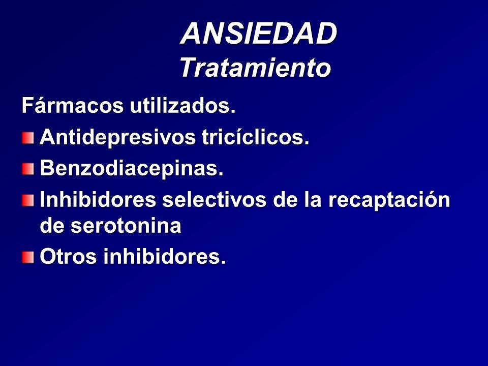 ANSIEDAD Tratamiento Fármacos utilizados. Antidepresivos tricíclicos.