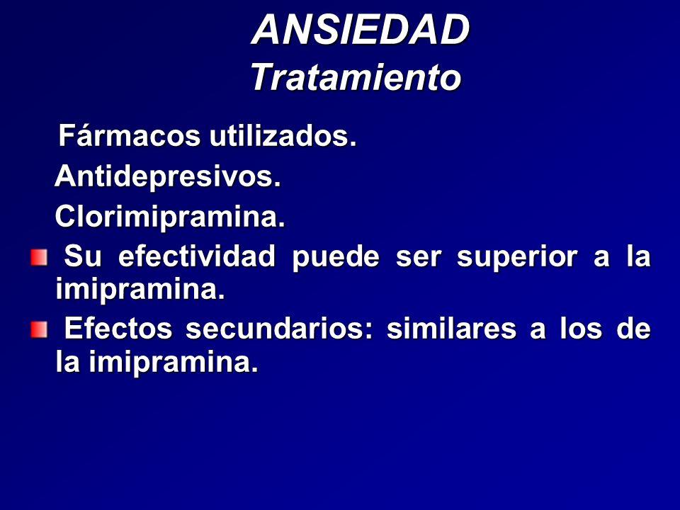ANSIEDAD Tratamiento Fármacos utilizados. Antidepresivos.