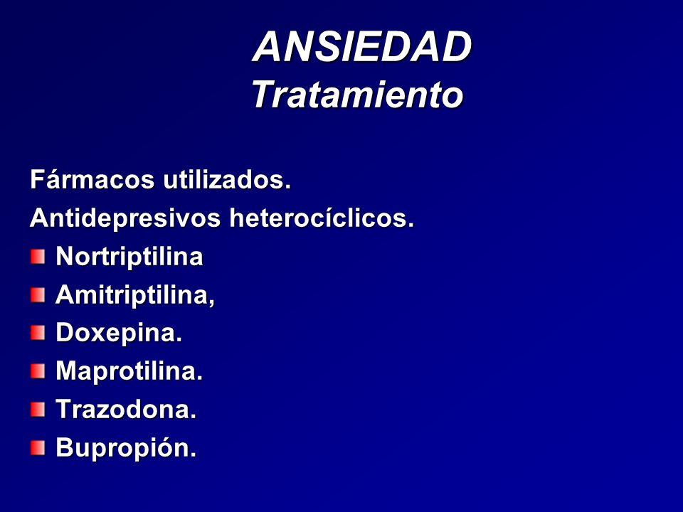 ANSIEDAD Tratamiento Fármacos utilizados.