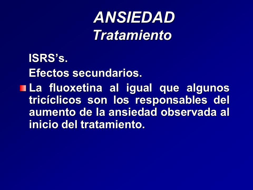 ANSIEDAD Tratamiento ISRS's. Efectos secundarios.