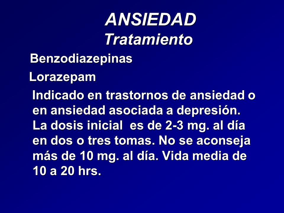 ANSIEDAD Tratamiento Benzodiazepinas Lorazepam