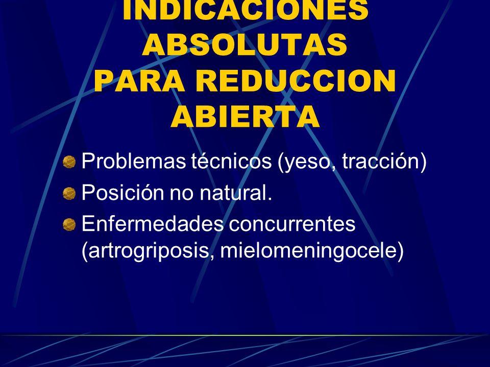 INDICACIONES ABSOLUTAS PARA REDUCCION ABIERTA