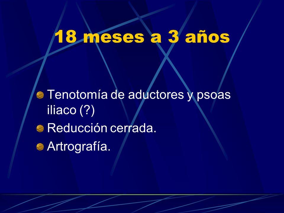 18 meses a 3 años Tenotomía de aductores y psoas iliaco ( )