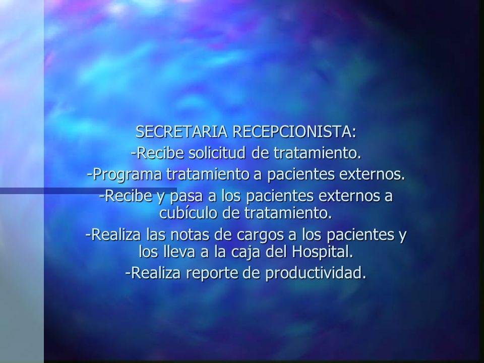 SECRETARIA RECEPCIONISTA: -Recibe solicitud de tratamiento.