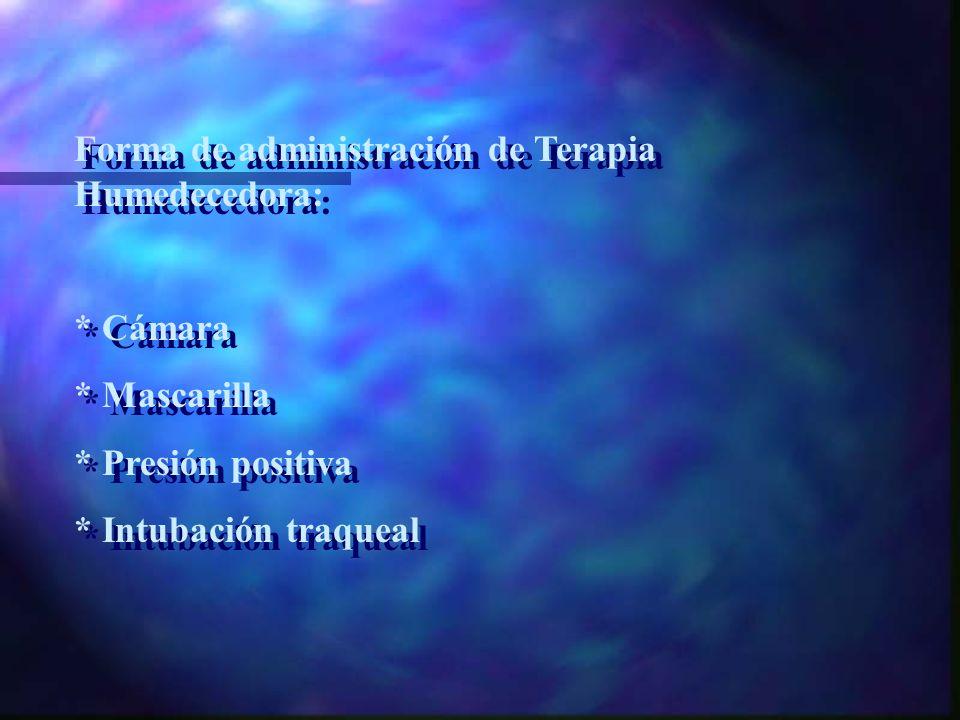 Forma de administración de Terapia Humedecedora: