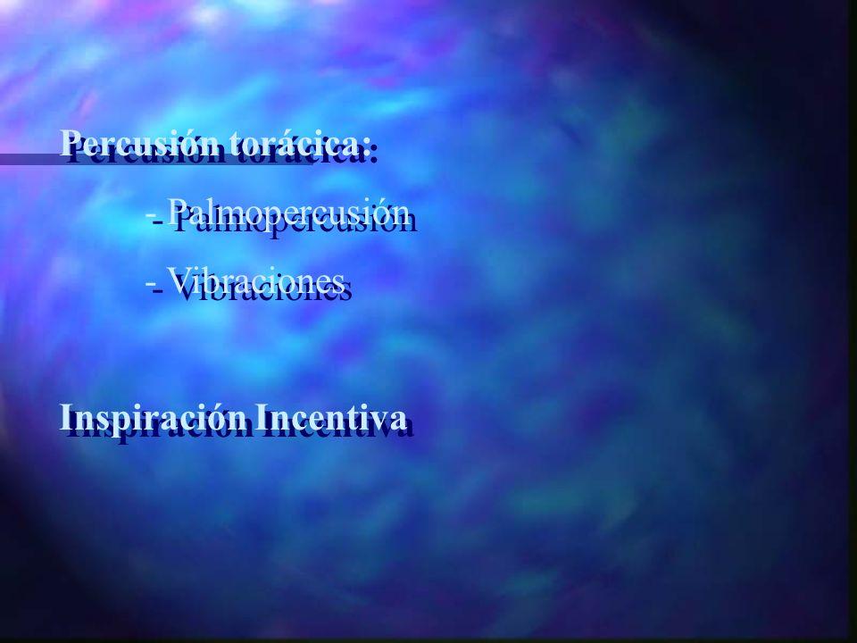 Percusión torácica: - Palmopercusión - Vibraciones Inspiración Incentiva