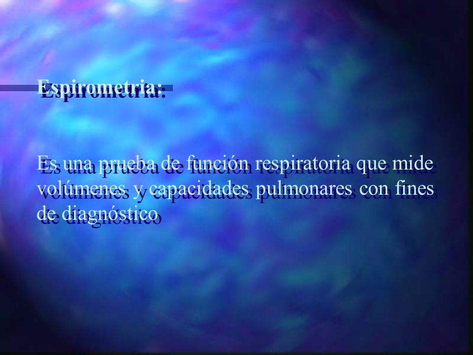 Espirometria: Es una prueba de función respiratoria que mide volúmenes y capacidades pulmonares con fines de diagnóstico.