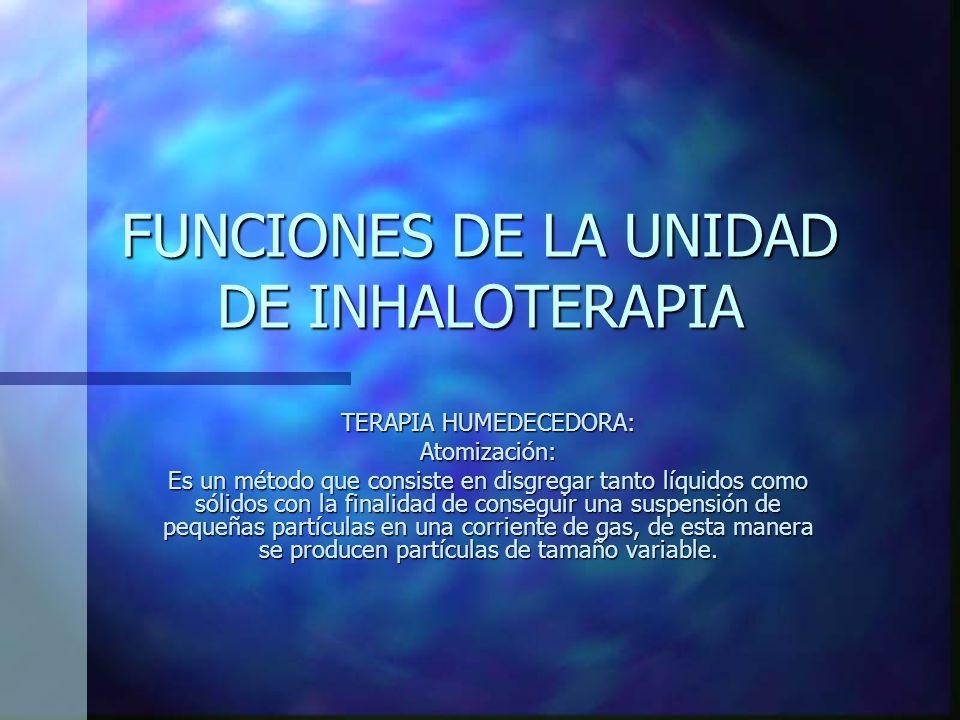 FUNCIONES DE LA UNIDAD DE INHALOTERAPIA
