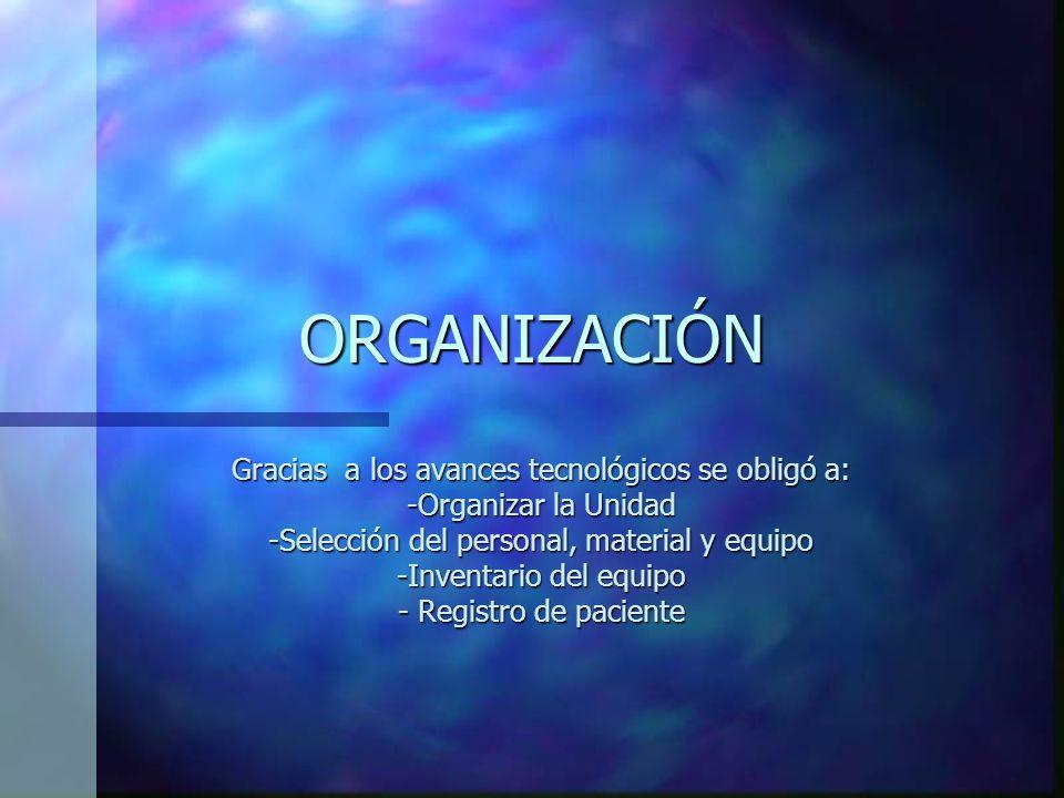 ORGANIZACIÓN Gracias a los avances tecnológicos se obligó a: