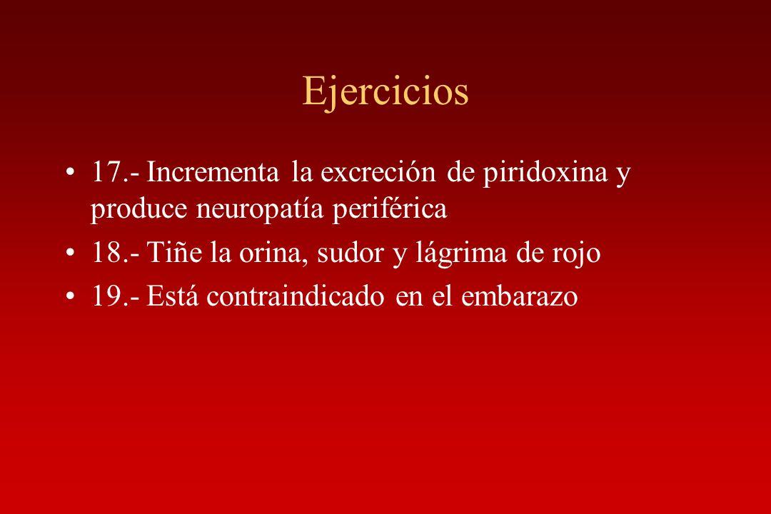 Ejercicios 17.- Incrementa la excreción de piridoxina y produce neuropatía periférica. 18.- Tiñe la orina, sudor y lágrima de rojo.