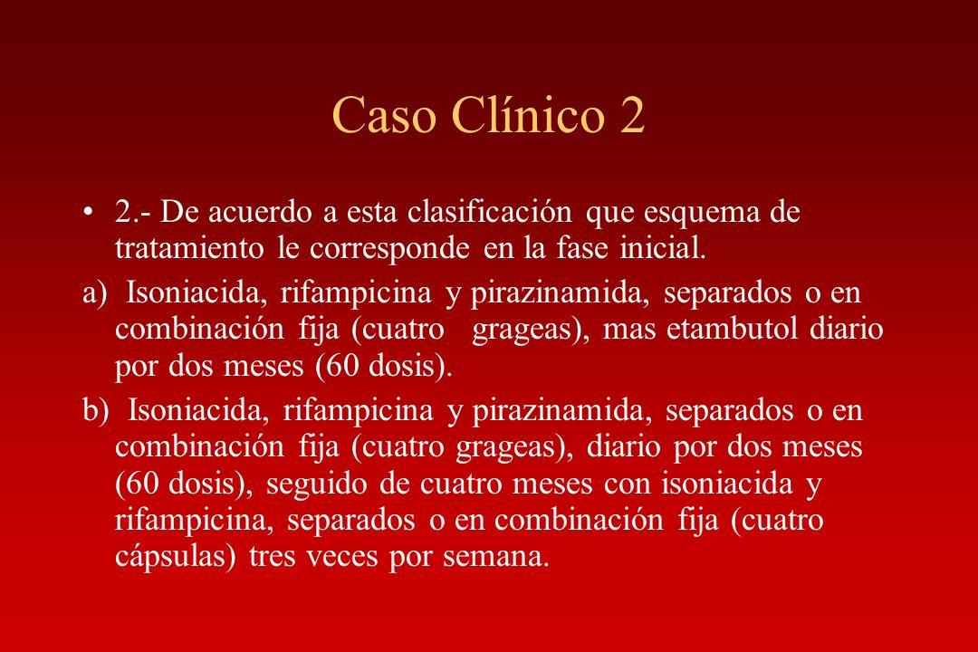 Caso Clínico 2 2.- De acuerdo a esta clasificación que esquema de tratamiento le corresponde en la fase inicial.