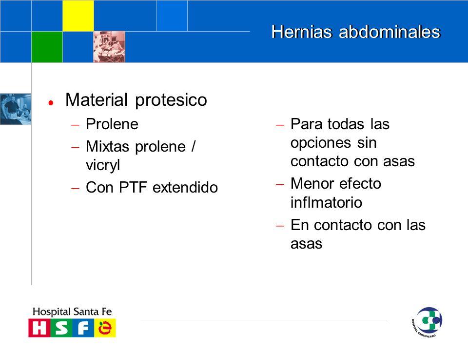 Hernias abdominales Material protesico Prolene Mixtas prolene / vicryl