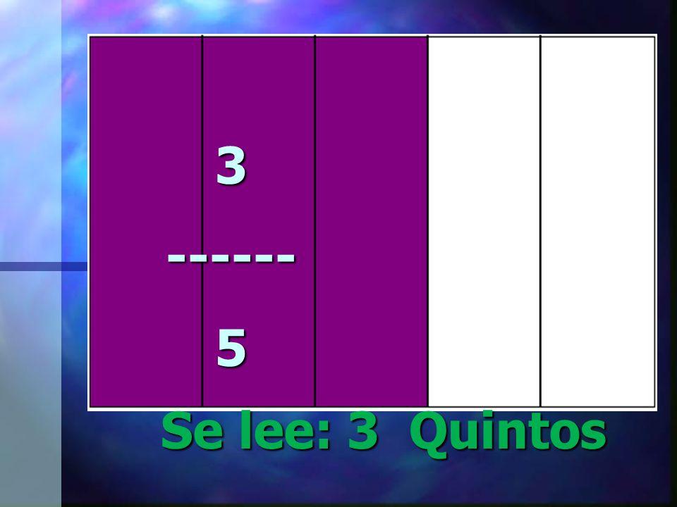 3 ------ 5 Se lee: 3 Quintos