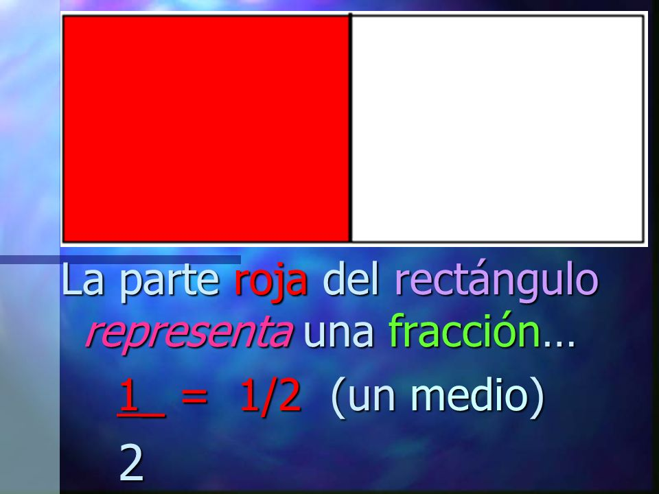 La parte roja del rectángulo representa una fracción…