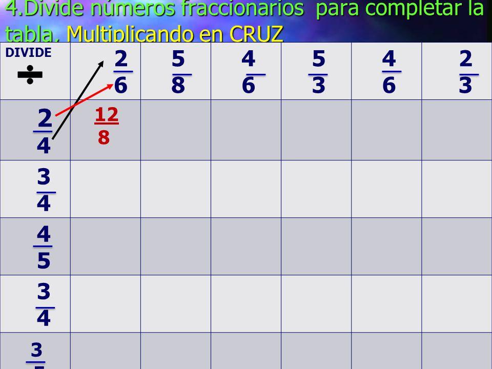 4.Divide números fraccionarios para completar la tabla, Multiplicando en CRUZ