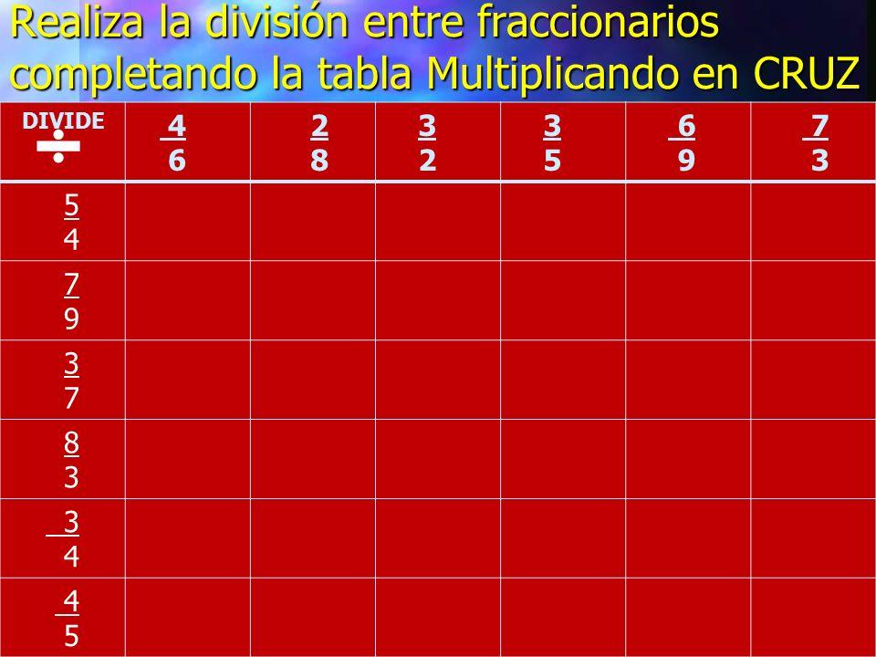 Realiza la división entre fraccionarios completando la tabla Multiplicando en CRUZ