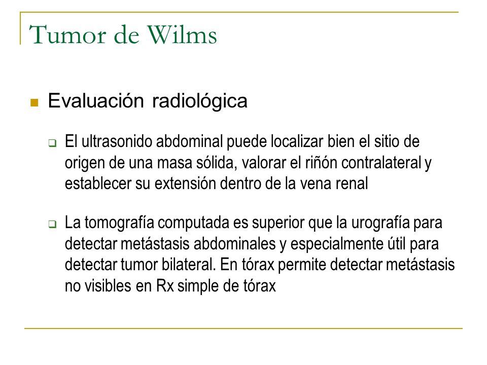 Tumor de Wilms Evaluación radiológica