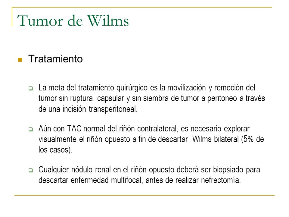 Tumor de Wilms Tratamiento