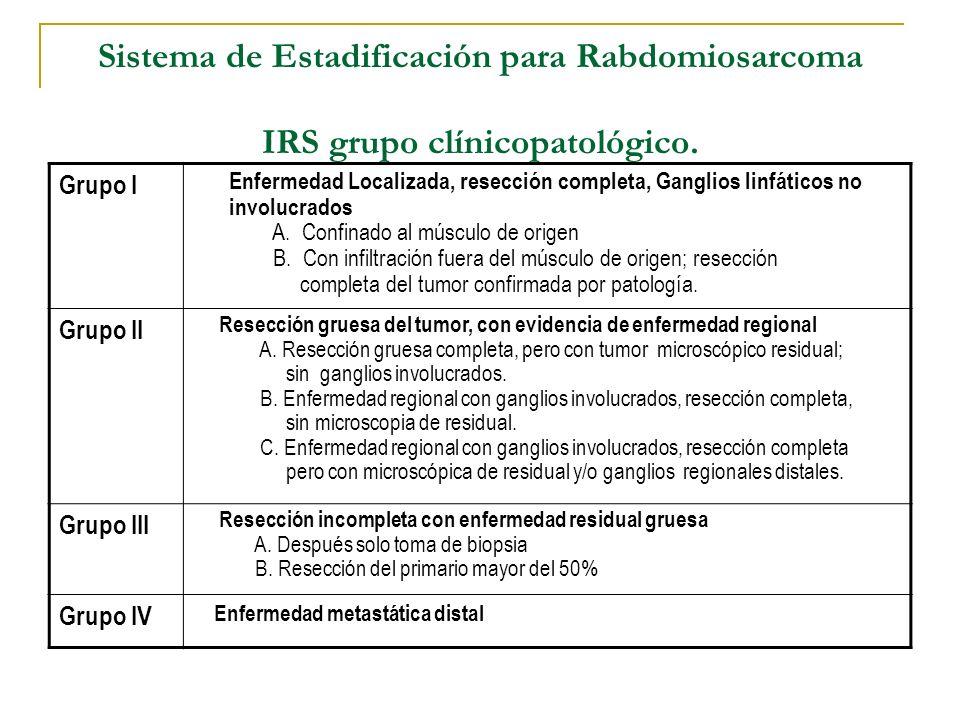 Sistema de Estadificación para Rabdomiosarcoma IRS grupo clínicopatológico.