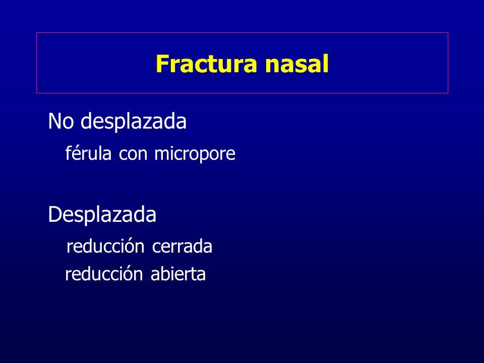 Fractura nasal No desplazada férula con micropore Desplazada