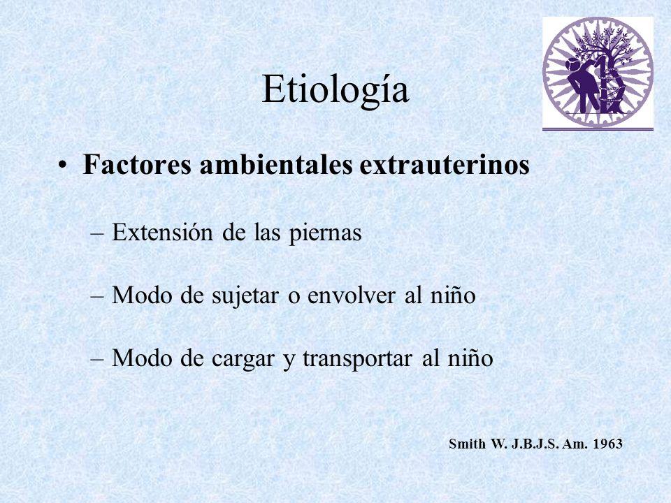 Etiología Factores ambientales extrauterinos Extensión de las piernas