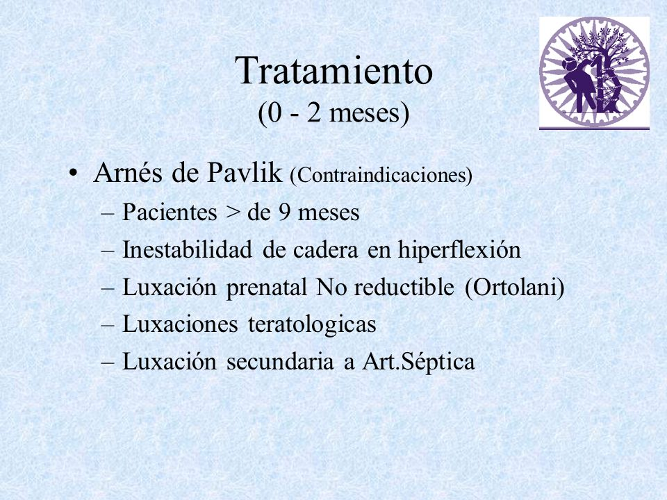 Tratamiento (0 - 2 meses) Arnés de Pavlik (Contraindicaciones)