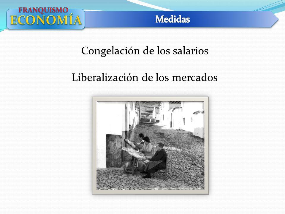 ECONOMÍA Congelación de los salarios Liberalización de los mercados