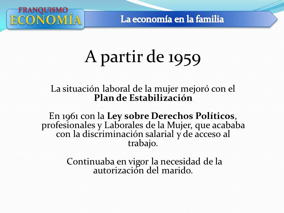 A partir de 1959 ECONOMÍA La economía en la familia