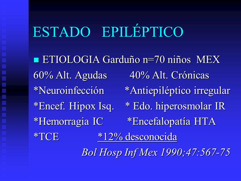 ESTADO EPILÉPTICO ETIOLOGIA Garduño n=70 niños MEX